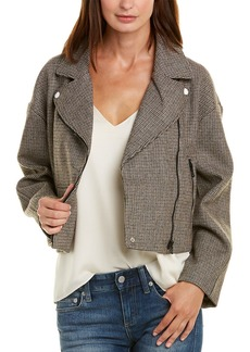 Astr The Label Boxy Wool-Blend Moto Jacket