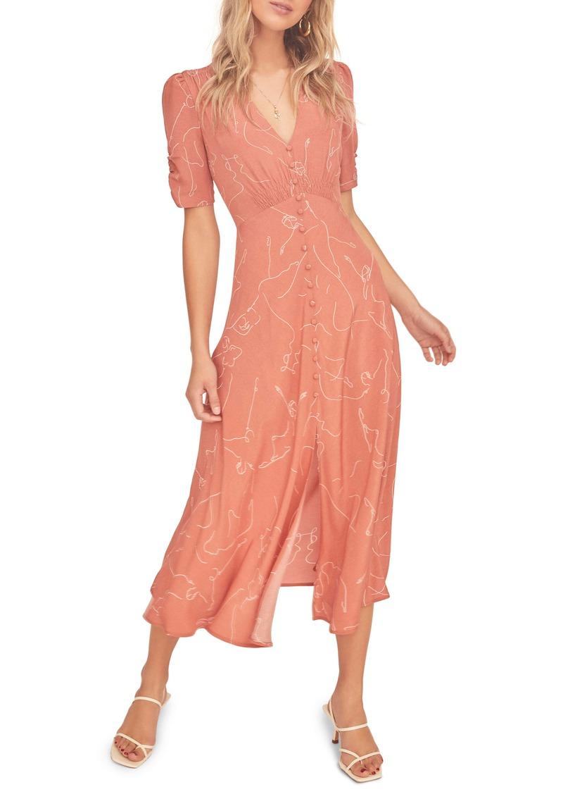 ASTR the Label Cher Sketch Print Midi Dress