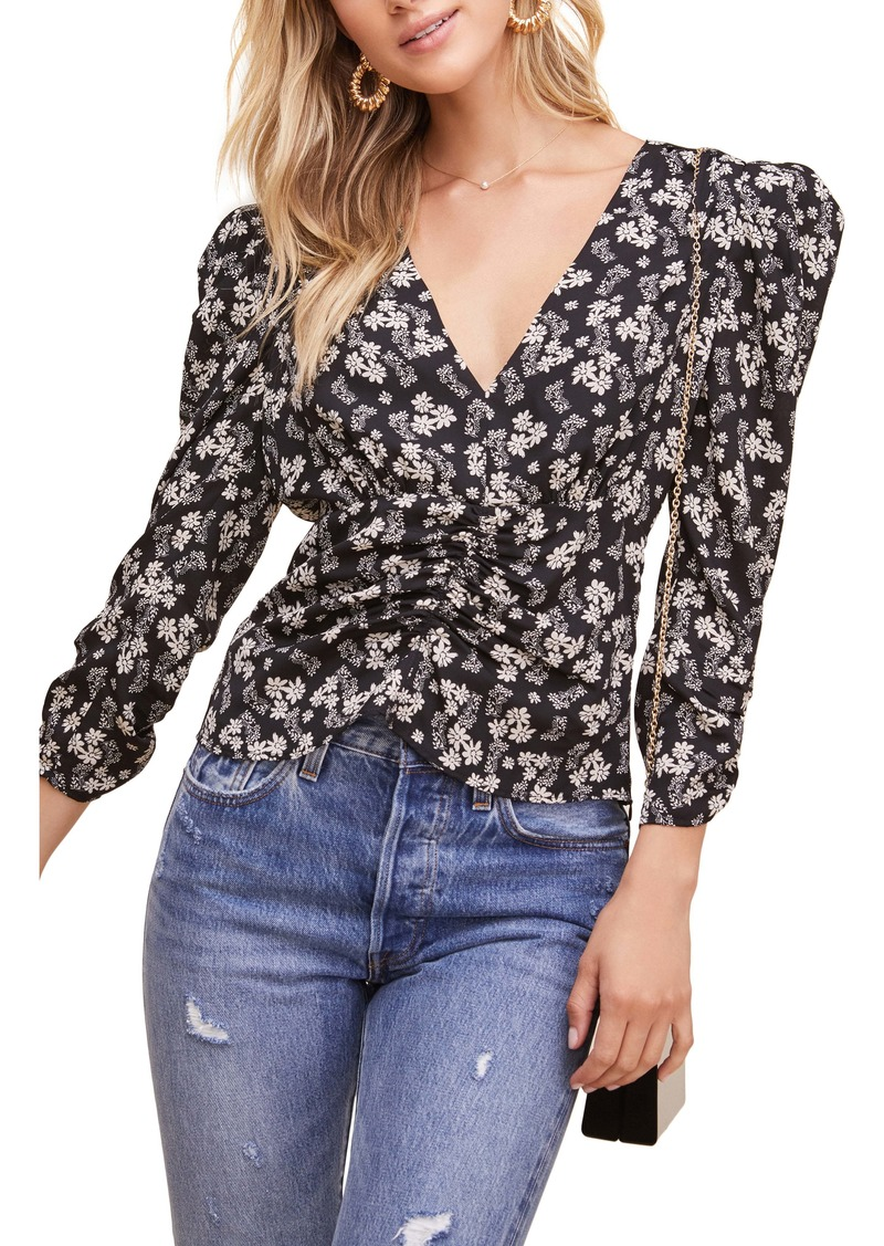 ASTR the Label Floral Ditsy Shirred Puff Sleeve Blouse