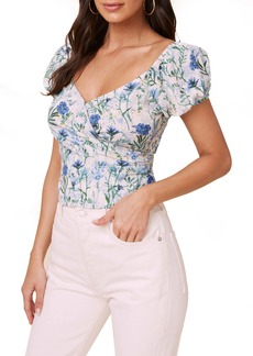 ASTR the Label Floral Surplice Linen & Cotton Crop Top