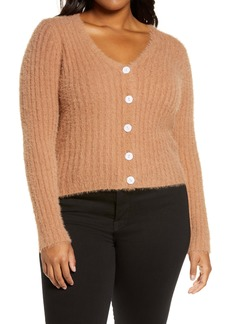 ASTR the Label Fuzzy Crop Cardigan (Plus Size)