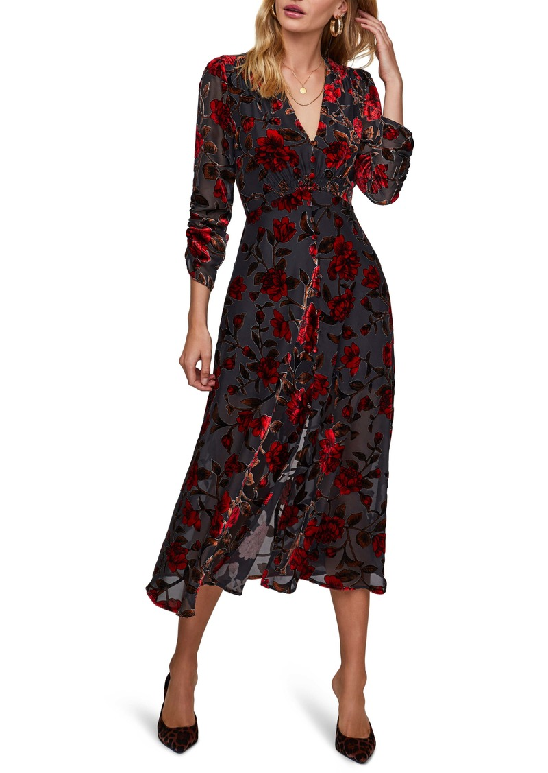 ASTR the Label Jalisca Floral Velvet Burnout Midi Dress