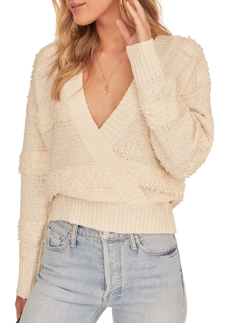 ASTR the Label Madeline Wrap Front Mix Stitch Sweater
