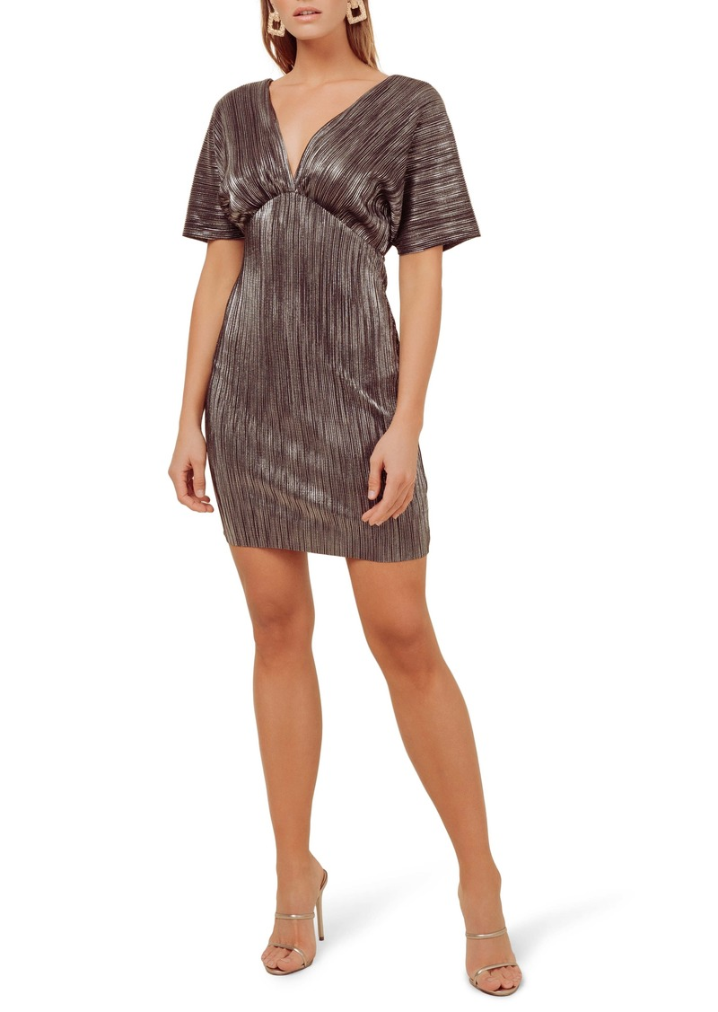 ASTR the Label Metallic Plunge Neck Dolman Sleeve Minidress