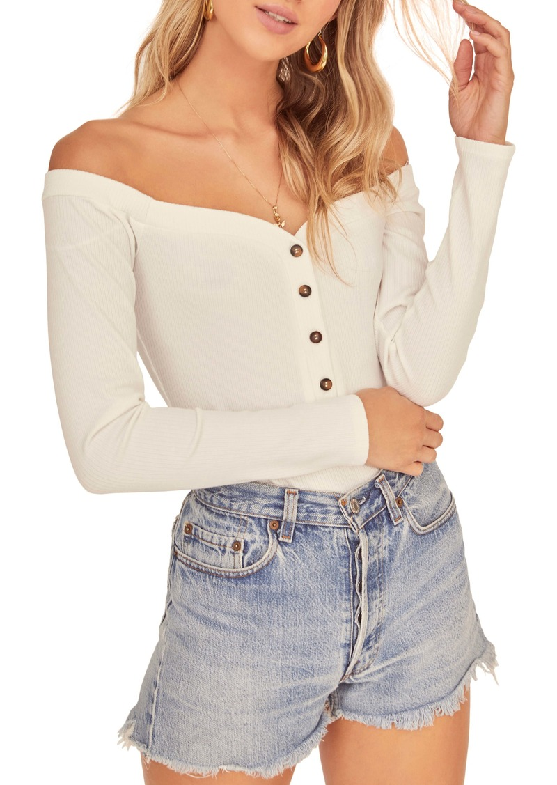 ASTR the Label Miya Off the Shoulder Long Sleeve Bodysuit
