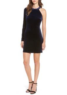 ASTR the Label One-Shoulder Velvet Body-Con Dress