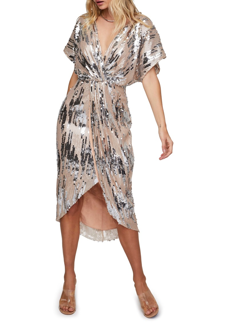 ASTR the Label Paloma Sequin Faux Wrap Midi Dress