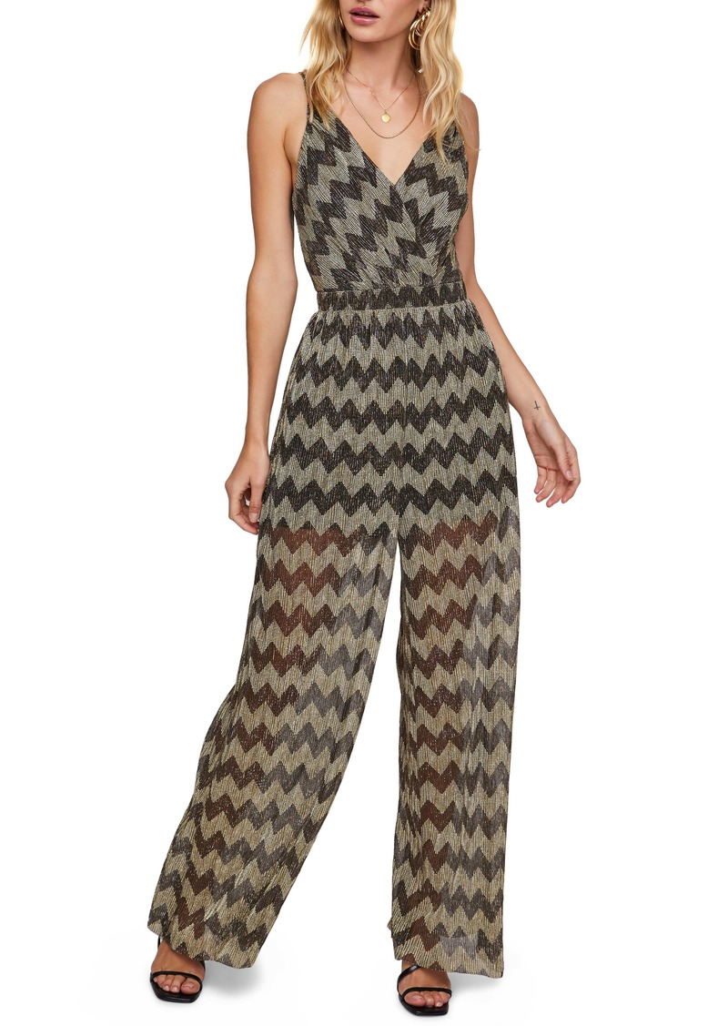 ASTR the Label Phoebe Metallic Zigzag Jumpsuit