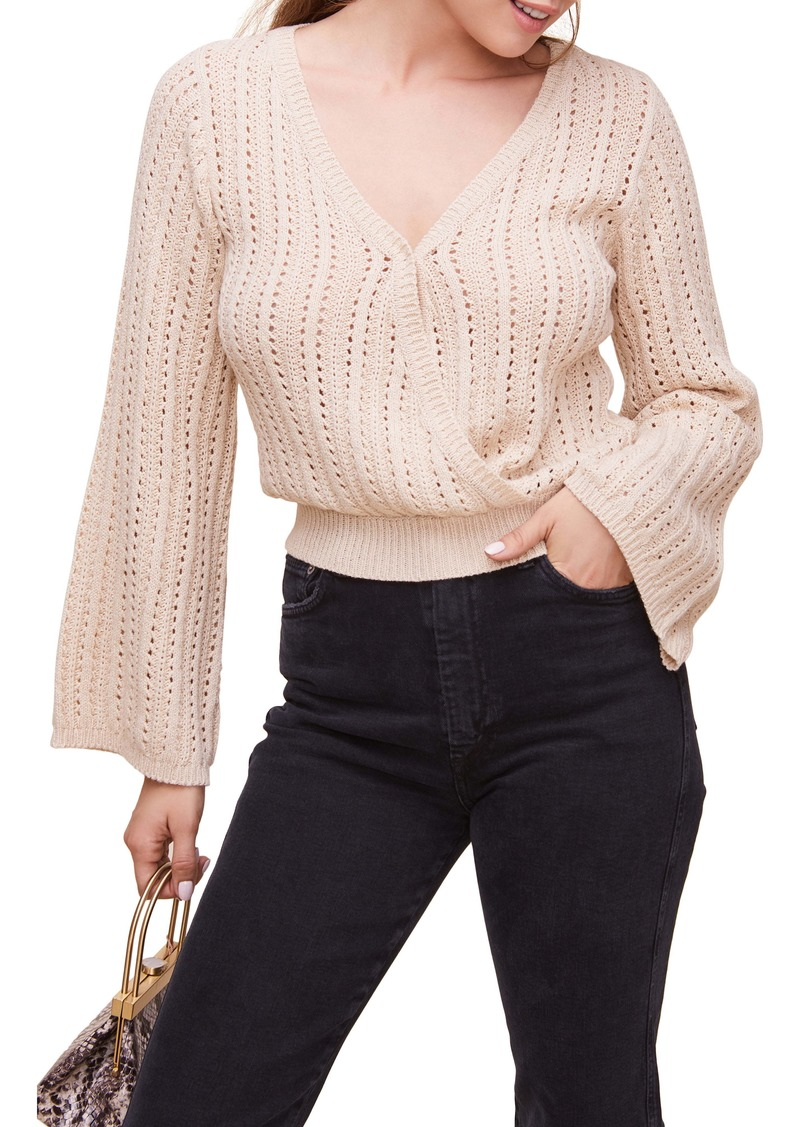 ASTR the Label Pointelle Wrap Front Bell Sleeve Sweater