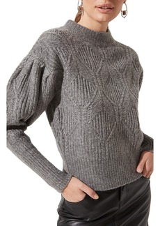 ASTR the Label Puff Sleeve Cable Sweater