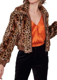 ASTR the Label Remy Leopard Faux Fur Bomber Jacket