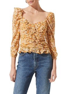 ASTR the Label Ruched Sleeve Blouse