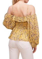 ASTR the Label Ruffle Off the Shoulder Smocked Top