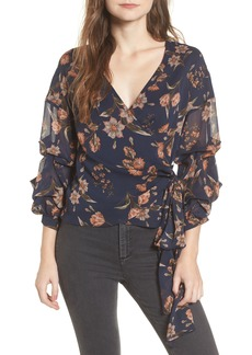 ASTR the Label Ruffle Sleeve Wrap Top