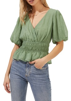 ASTR the Label Shirred Bubble Sleeve Blouse