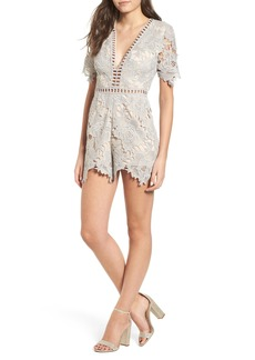 ASTR the Label Short Sleeve V-Neck Lace Romper