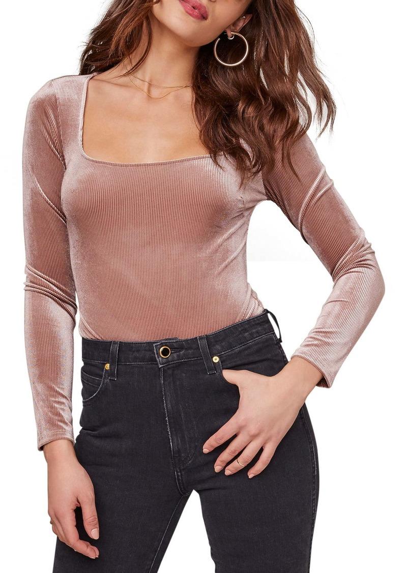 ASTR the Label Tess Ribbed Velvet Long Sleeve Bodysuit
