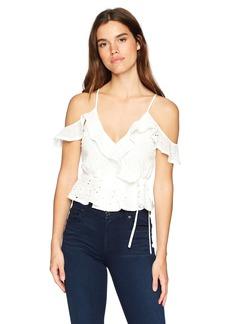 ASTR the label Women's April Cold Shoulder Wrap Front Cami Blouse Top  M