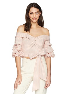 ASTR the label Women's Carrie Off The Shoulder Puff Sleeve Crop Top  M