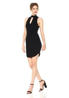 ASTR the label Women's Choker Ribbed Bodycon Keyhole Dress  L