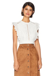 ASTR the label Women's Connie Eyelet Lace Ruffle Sleeveless Crop Top  S