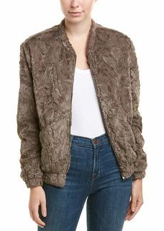 ASTR the label Women's Danika Super Soft Faux Fur Bomber Jacket ash Grey