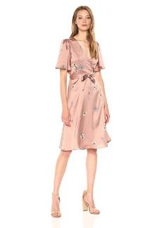 ASTR the label Women's Fiona Floral Print WRAP Dress Soft Pink