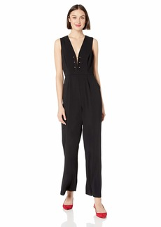 ASTR the label Women's JUST Dance Sleeveless Plunging Flared Jumpsuit  XS