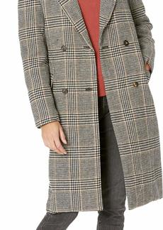 ASTR the label Women's Kensington Long Plaid Double-Breasted Pea Coat Black/Mustard M