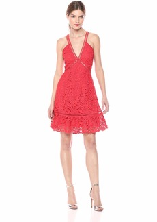 ASTR the label Women's Lattice Inset Sleeveless LACE FIT & Flare Short Dress red/Orange XS