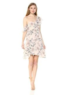 ASTR the label Women's Libby Asymmetric One Shoulder Short Floral Cocktail Dress Dusty Blush XS