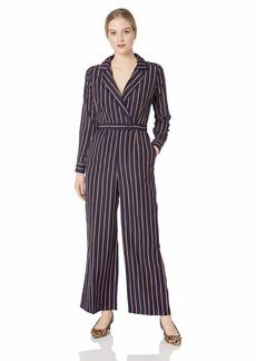 ASTR the label Women's Long Sleeve WRAP Front Wide Leg Jumpsuit Navy-Taupe Stripe L