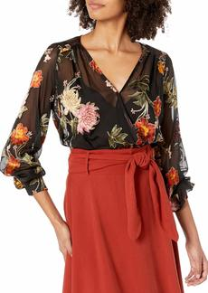 ASTR the label Women's Margo Long Sleeve Crossover Bodysuit  M