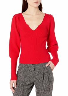 ASTR the label Women's Marina Scallop Neck Ribbed Sweater Top  M
