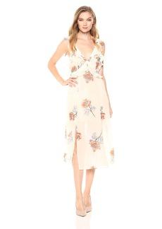 ASTR the label Women's Milani Flowy Ruffle MID Length Floral Open Back Dress Peach Sorbet S