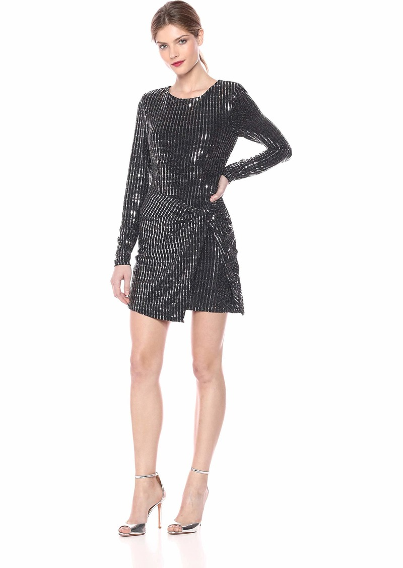 ASTR the label Women's ON The List Long Sleeve Stretch Sequin Mini Dress  L