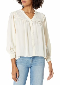 ASTR the label Women's Piper V-Neck Long Sleeve Button Front Top  XS