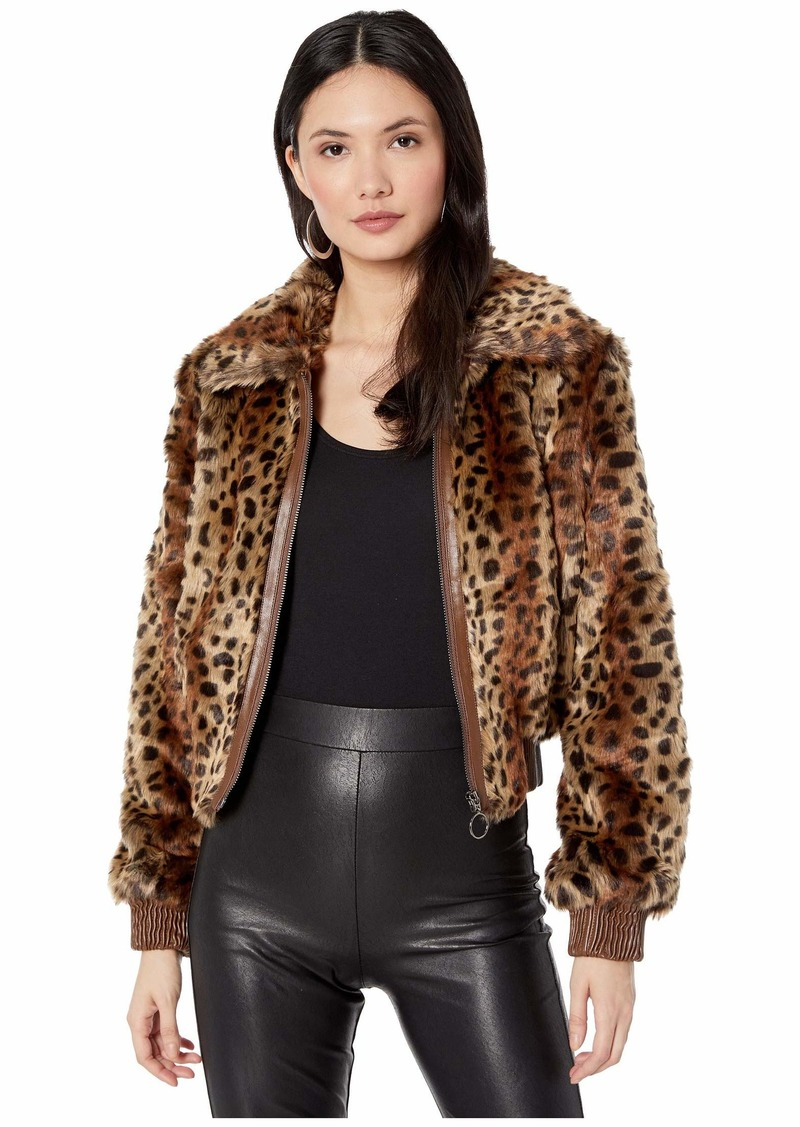 ASTR the label Women's REMY Animal Print Faux Fur Bomber Jacket  S