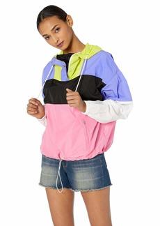 ASTR the label Women's Retro Colorblock Windbreaker Lightweight Jacket ELECTIRC Color Block l