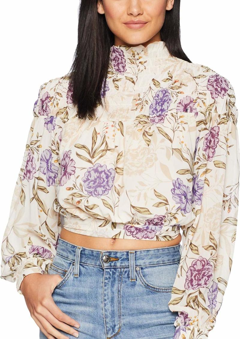 ASTR the label Women's Rhonda Floral Mock Neck Long Sleeve Top with Open Lower Back  XS