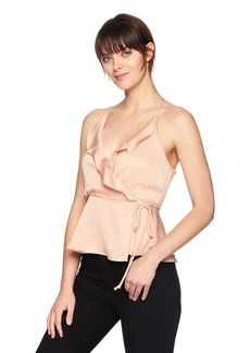 ASTR the label Women's Satin Ruffle WRAP Racerback Tank  XS