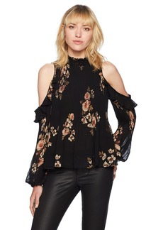 ASTR the label Women's Shae Floral Print Cold Shoulder Ruffle Top Black/Pink