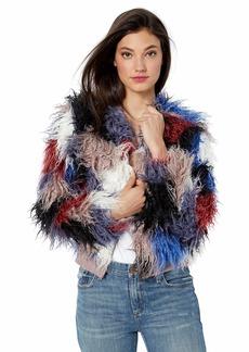 ASTR the label Women's Shaggy Faux Fur Short Jacket  l