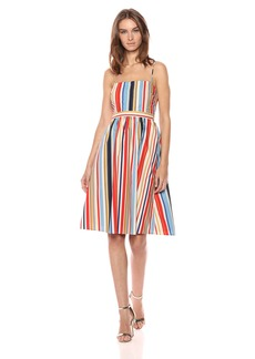 ASTR the label Women's Shannon Casual Stripe Fit and Flare Cotton Sun Dress  XS