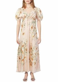 ASTR the label Women's Short Puff Sleeve in Bloom Midi Slip Dress with Sweetheart Neckline  M