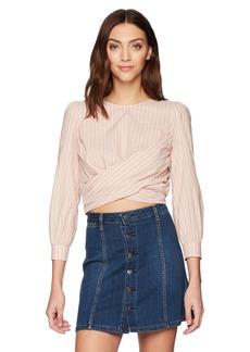 ASTR the label Women's Sinead Wrap Front Long Sleeve Cut Out Cotton Top  S