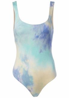 ASTR the label Women's Sleeveless Square Neck RETORGRADE Bodysuit Purple-Blue TIE DYE M