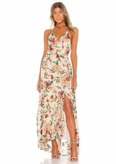 ASTR the label Women's Sleeveless Surplice V Neck Frolic Faux WRAP Maxi Dress Cream-Ruby Floral L