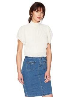 ASTR the label Women's Smocked Mock Neck Flutter Sleeve Cropped Top  S
