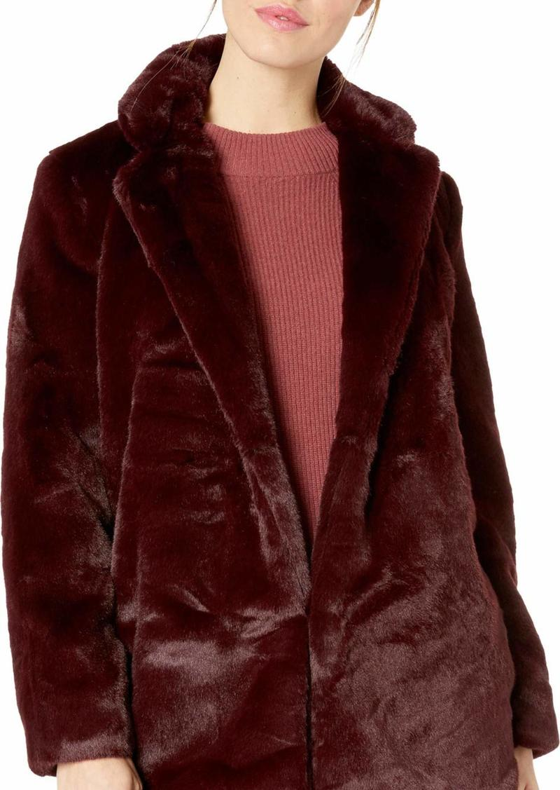ASTR the label Women's Soft Collared Faux Fur Long Coat  m